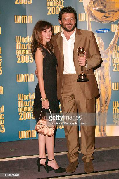 Jane March and Patrick Bruel during 2003 Monte Carlo World Music Awards - Press Room at Monte Carlo Sporting Club in Monte Carlo, Monaco.