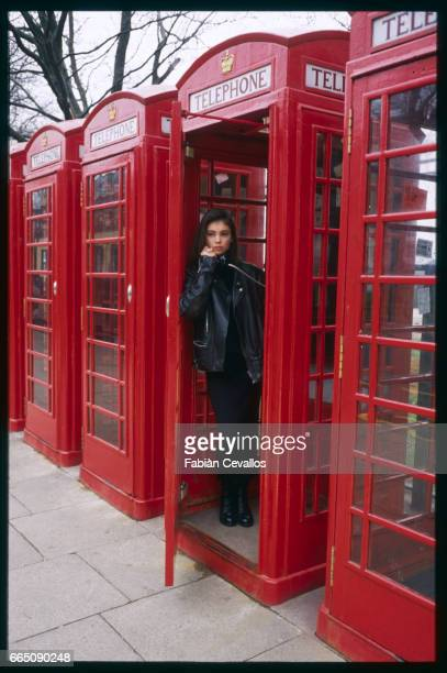 Jane March stands thoughtfully in a red telephone booth The British actress plays the role of the young girl in French director JeanJacques Annaud's...