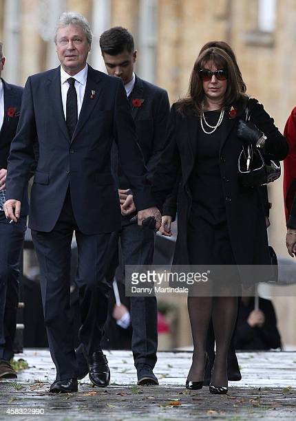 Jane McDonald and Walter 'Eddie' Rothe attend the funeral of Lynda Bellingham on November 3 2014 in Crewkerne England