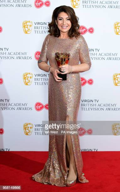 Jane McDonald with the Features award for Cruising with Jane McDonald in the press room at the Virgin TV British Academy Television Awards 2018 held...