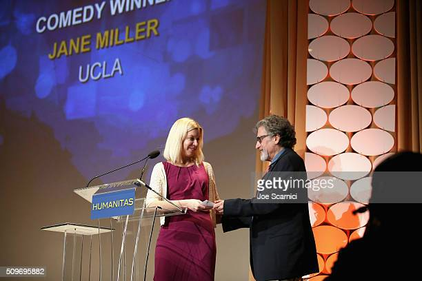 Jane Miller accepts the Angell Comedy Fellowship award from actor/director Paul Michael Glaser onstage during the 41st Humanitas Prize Awards...