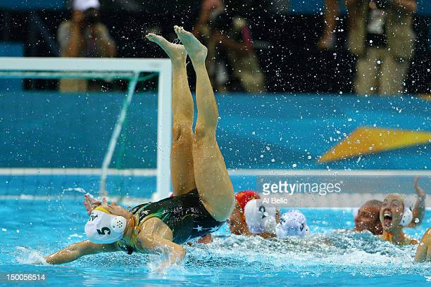 Jane Moran of Australia celebrates winning the Women's Water Polo Bronze Medal match between Australia and Hungary on Day 13 of the London 2012...