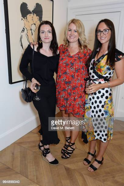 Jane Neal and daughters Lauren and Katie attend the Bansky 'Greatest Hits 20022008' exhibition VIP preview at Lazinc on July 9 2018 in London England