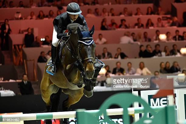 Jane of Switzerland rides Dieudonne de Guldenboom during the Grand Prix Longines FEI World Cup by GL Events at in the EQUITA Lyon France Photo by...