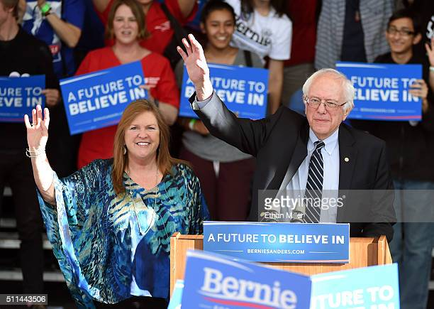 Jane O'Meara Sanders and her husband Democratic presidential candidate Sen Bernie Sanders arrive at the Henderson Pavilion as he concedes the Nevada...