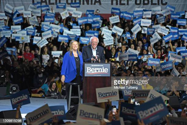 Jane O'Meara Sanders and Senator Bernie Sanders speak at a Bernie 2020 presidential campaign rally at Los Angeles Convention Center on March 01, 2020...