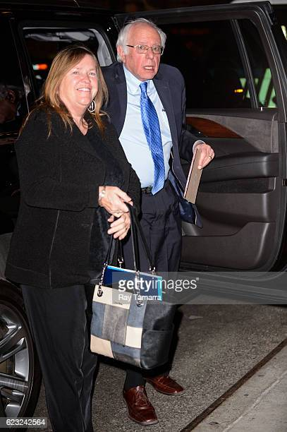 Jane O'Meara Sanders and United States Senator Bernie Sanders enter 'The Late Show With Stephen Colbert' taping at the Ed Sullivan Theater on...