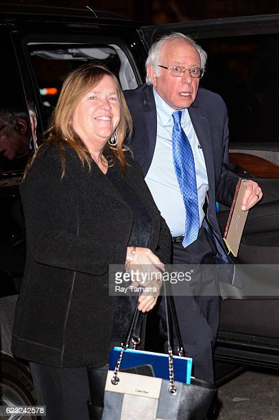 Jane O'Meara Sanders and United States Senator Bernie Sanders enter The Late Show With Stephen Colbert taping at the Ed Sullivan Theater on November...