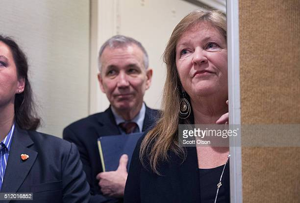 Jane O'Meara Sanders the wife of Democratic presidential candidate Sen Bernie Sanders listens as her husband speaks about poverty in South Carolina...