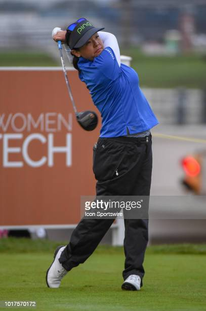 Jane Park watches her tee shot on 1 during round 1 play of the Indy Women in Tech Championship on August 15 2018 at Brickyard Crossing Golf Club...