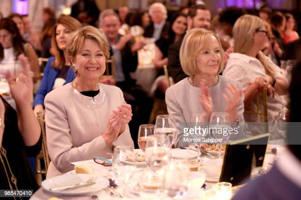 Jane Pauley and Judy Woodruff attend The Gracies presented by the Alliance for Women in Media Foundation at Cipriani 42nd Street on June 27 2018 in...