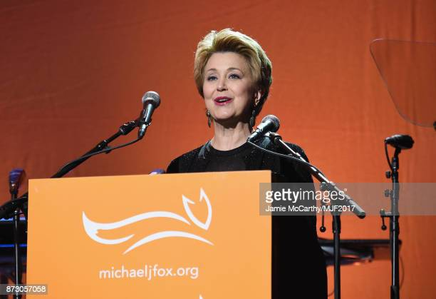 Jane Pauley presents on stage at A Funny Thing Happened On The Way To Cure Parkinson's benefitting The Michael J Fox Foundation at the Hilton New...
