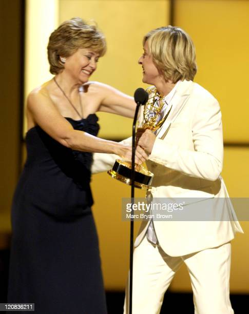 Jane Pauley presents the award for Outstanding Talk Show to Ellen Degeneres for 'The Ellen Degeneres Show'