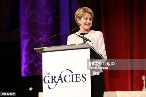 Jane Pauley speaks onstage at The Gracies presented by the Alliance for Women in Media Foundation at Cipriani 42nd Street on June 27 2018 in New York...
