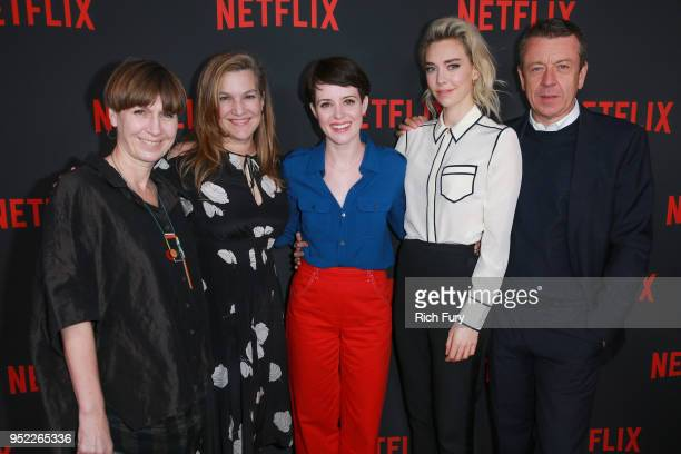 """Jane Petrie, Krista Smith, Claire Foy, Vanessa Kirby and Peter Morgan attend the For Your Consideration event for Netflix's """"The Crown"""" at Saban..."""