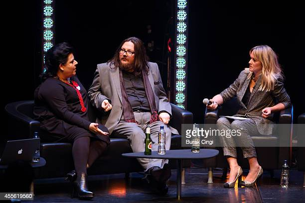 Jane Pollard, Iain Forsyth and Edith Bowman discuss 20,000 Days on Earth on stage at the gala preview of 20,000 Days on Earth at Barbican Centre on...