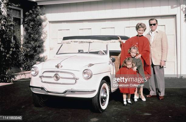 Jane Powell and family including Patrick Nerney at home with their Fiat 600 Jolly 1956