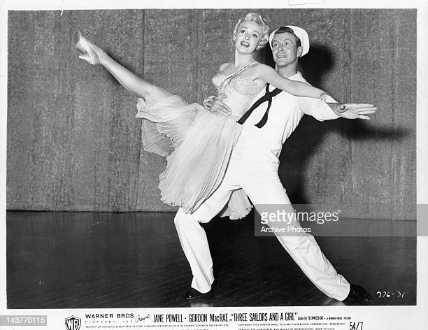 Jane Powell dancing with Gene Nelson in a scene from the film 'Three Sailors And A Girl' 1953