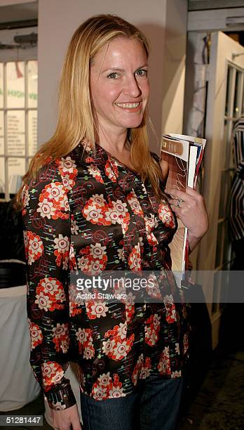 Jane Pratt poses for a picture during the Olympus Fashion Week Spring 2005 at Bryant Park September 9, 2004 in New York City.