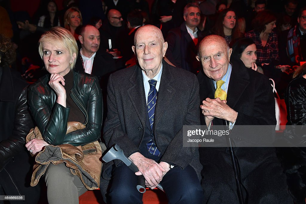 Jane Reeve, Mario Boselli and Beppe Modenese attend the Versace show during the Milan Fashion Week Autumn/Winter 2015 on February 27, 2015 in Milan, Italy.