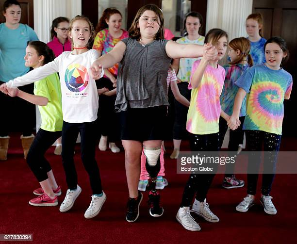 Jane Richard center is pictured with other members of a dance group during a rehearsal of their routine that they performed in Boston on Dec 3 2016...
