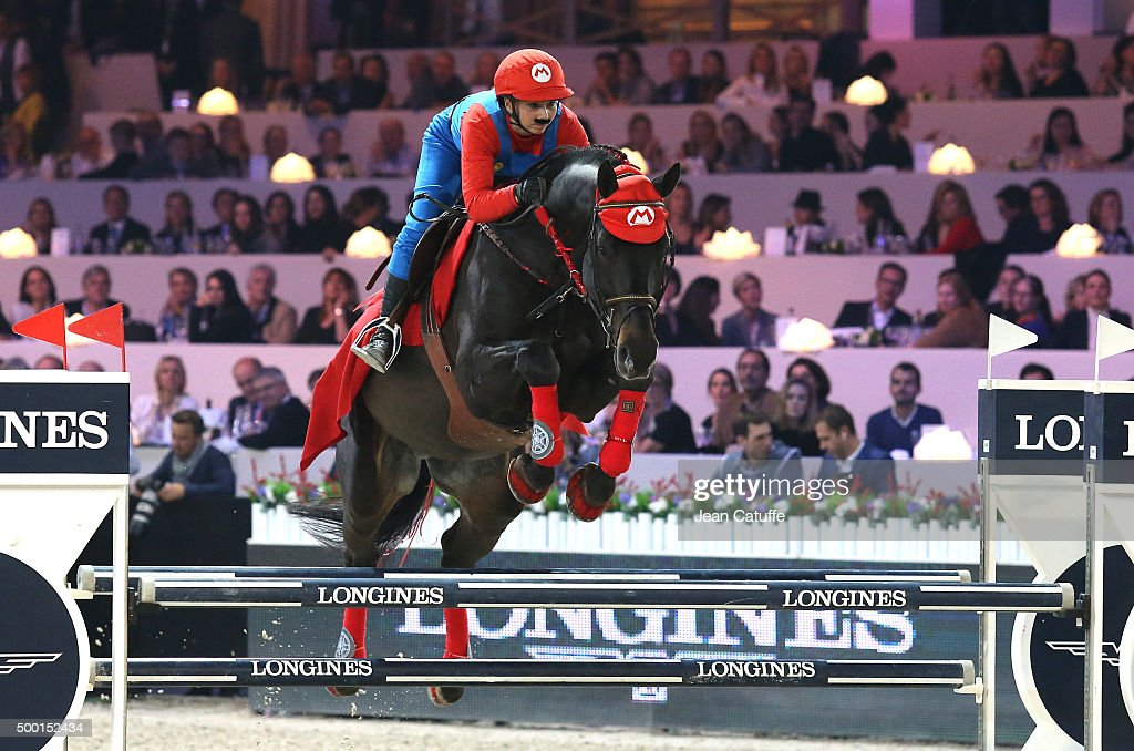 Jane Richard Philips of Switzerland rides as Super Mario during the 'Style and Competition' show jumping charity event benefitting 'AMADE' on day three of the Longines Paris Masters 2015 held at the Paris-Nord Villepinte Exhibition Center on December 5, 2015 in Villepinte nearby Paris, France.