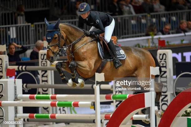 Jane Richard Philips of Switzerland riding Foica Van Den Bisschop during the Longines FEI Jumping World Cup Verona 2018 CSI5*W on October 28 2018 in...