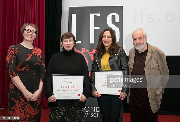 Jane Roscoe Abi Morgan Elizabeth Karlsen and Mike Leigh attend The London Film School Annual Show at Barbican Centre on December 14 2015 in London...