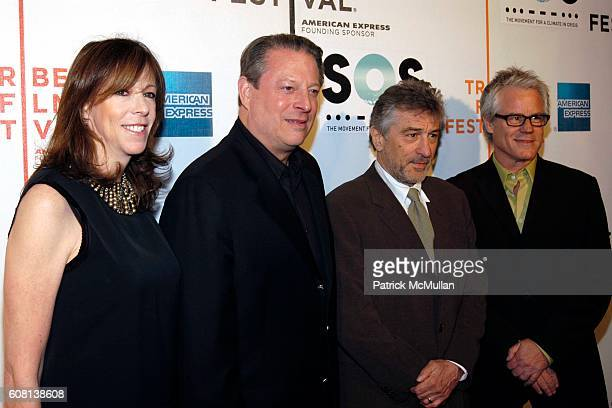 Jane Rosenthal Al Gore Robert De Niro and Kevin Wall attend Opening of Tribeca Film Festival SOS Short Film Program at BMCC Tribeca PAC on April 25...