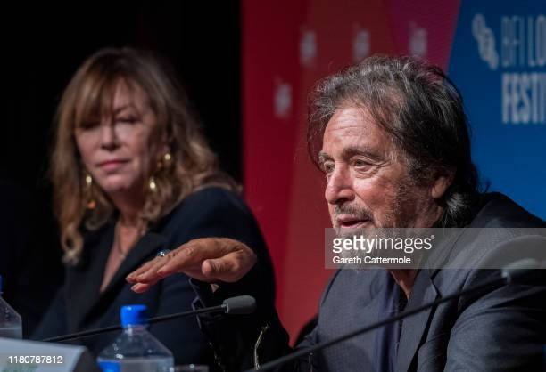 Jane Rosenthal and Al Pacino at The Irishman press conference during the 63rd BFI London Film Festival at The May Fair Hotel on October 13 2019 in...