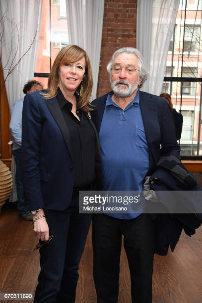Jane Rosenthal and Robert De Niro attend the 2017 Tribeca Film Festival Opening Press Lunch at Thalassa on April 19 2017 in New York City