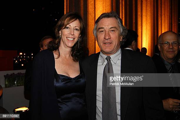 Jane Rosenthal and Robert De Niro attend Vanity Fair hosts their Tribeca Film Festival dinner at The State Supreme Courthouse on April 20 2005 in New...