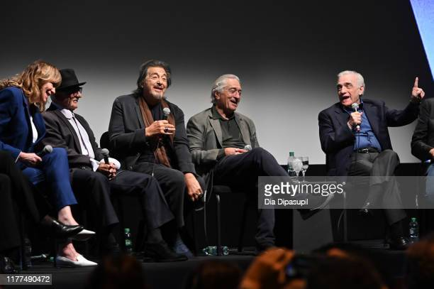 Jane Rosenthal Joe Pesci Al Pacino Robert De Niro and Martin Scorsese at The Irishman press conference during the 57th New York Film Festival at...