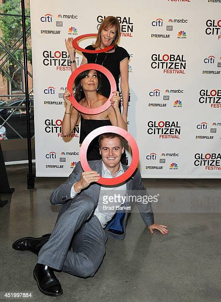 Jane Rosenthal Katie Holmes and Hugh Evans attend the Third Annual GLOBAL CITIZEN FESTIVAL Launch Party at Milk Studios on July 10 2014 in New York...