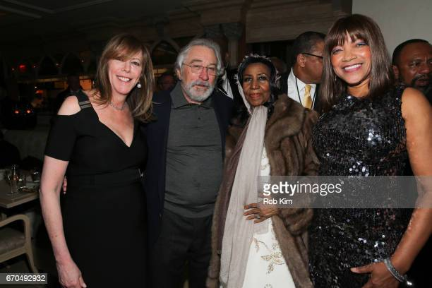 Jane Rosenthal Robert De Niro Aretha Franklin and Grace Hightower attend the 2017 Tribeca Film Festival Opening Night Party at Tavern On The Green on...