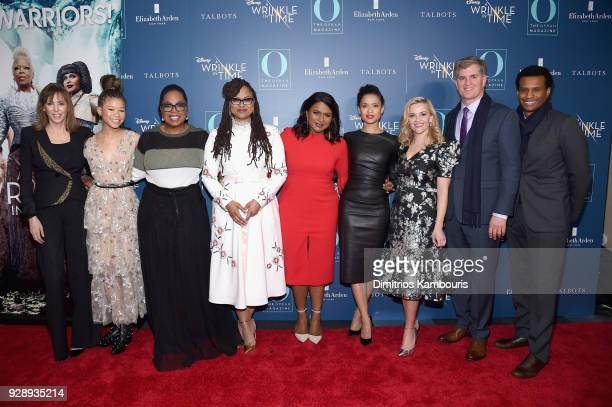 Jane Rosenthal Storm Reid Oprah Winfrey Ava DuVernay Mindy Kaling Gugu MbathaRaw Reese Witherspoon Jim Whitaker and Tendo Nagenda attend as O The...