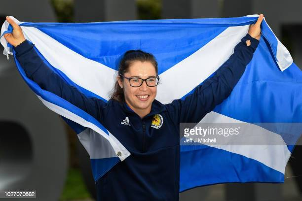 Jane Ross and Scotland's Women's football team arrive back at Edinburgh Airport following their qualification to the World Cup after beating Albania...