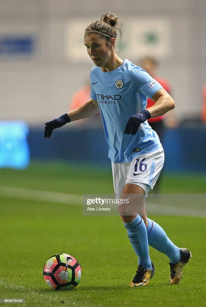 Jane Ross of Manchester City Ladies during the UEFA Women's Champions League match between Manchester City Ladies and St. Polten Ladies at Manchester City Football Academy on October 12, 2017 in Manchester, England.