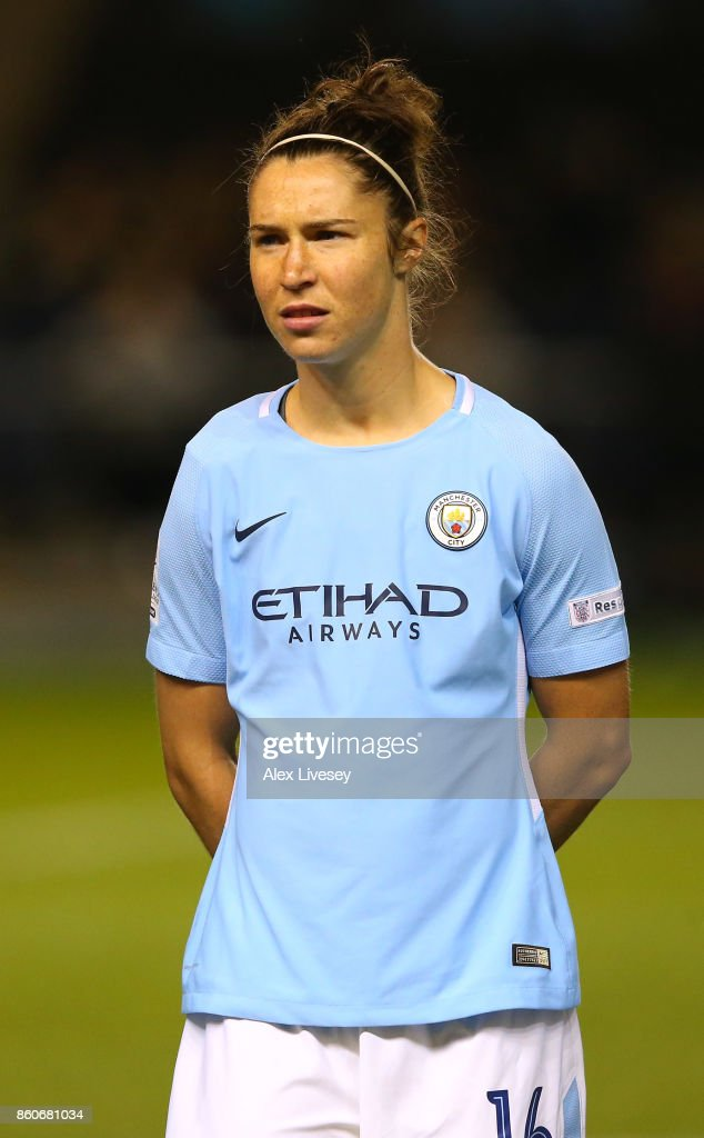 Jane Ross of Manchester City Ladies lines up prior to the UEFA Women's Champions League match between Manchester City Ladies and St. Polten Ladies at Manchester City Football Academy on October 12, 2017 in Manchester, England.