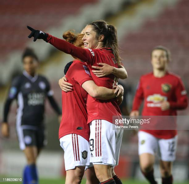 Jane Ross of Manchester United Women celebrates scoring their seventh goal during the FA Women's Continental League Cup match between Manchester...