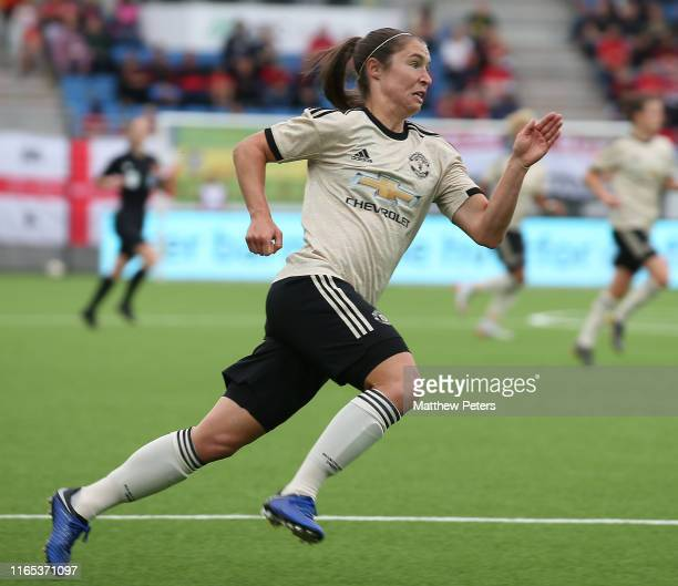 Jane Ross of Manchester United Women in action during the preseason friendly match between Valerenga and Manchester United Women at Intility Arena on...