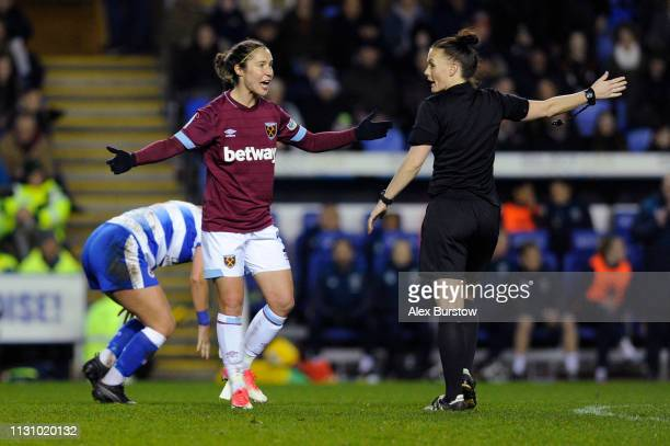 Jane Ross of West Ham United reacts to Match Referee Rebecca Welch during the FA Women's Super League match between Reading Women and West Ham United...