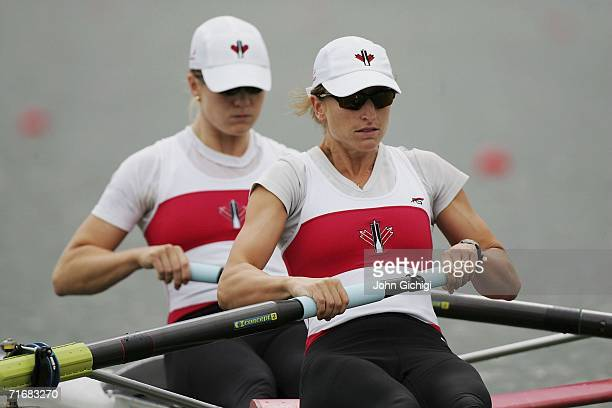 Jane Rumball stroke and Darcy Marquardt bow of Canada compete in the women's pairs during day one of the World Rowing Championships on August 20 at...