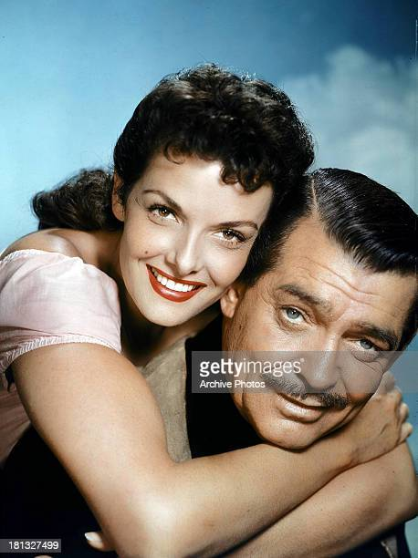 Jane Russell and Clark Gable in publicity portrait for the film 'The Tall Men' 1955