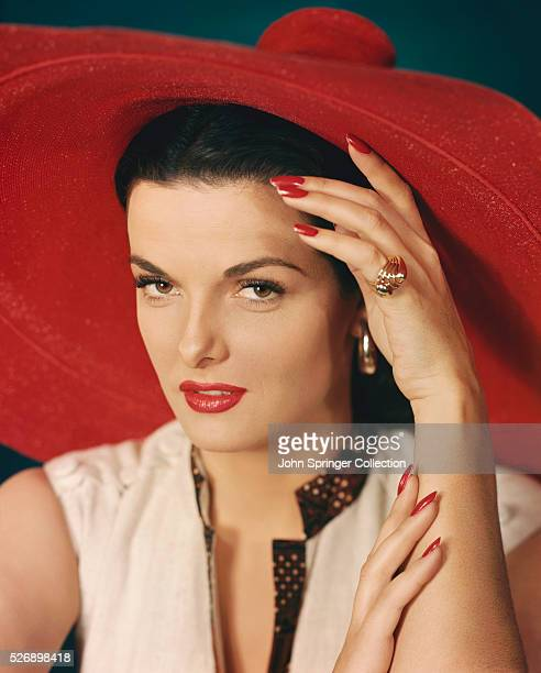 Jane Russell B1921 In this Photo Ms Russell is left hand on forehead and right hand on left arm Undated Portrait