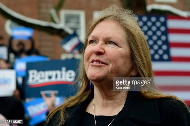 Jane Sanders wife of Sen Bernie Sanders looks on as her husband takes the stage during the 2020 campaign kickoff at Brooklyn College in Brooklyn NY...