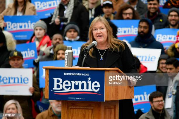 Jane Sanders wife of Sen Bernie Sanders takes the stage to stump for her husband Sen Bernie Sanders during the 2020 campaign kickoff at Brooklyn...