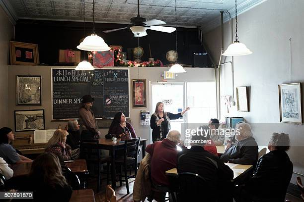 Jane Sanders wife of Vermont Senator and 2016 Democratic presidential candidate Bernie Sanders speaks during a campaign event in Fort Madison Iowa US...