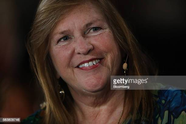 Jane Sanders wife of Vermont Senator Bernie Sanders smiles during the Democratic National Convention in Philadelphia Pennsylvania US on Wednesday...