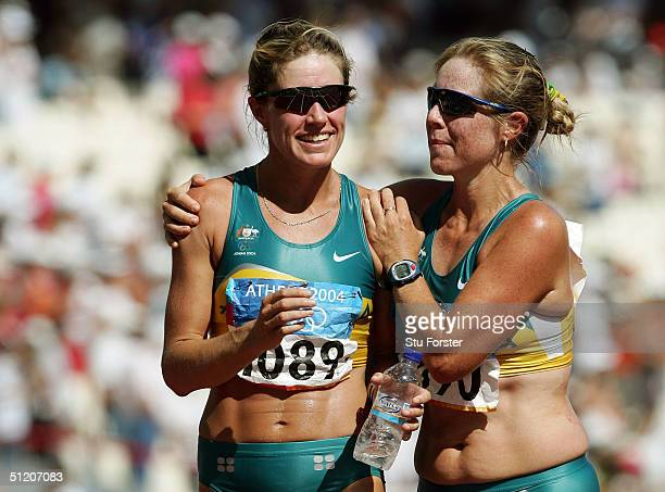 Jane Saville and Natalie Saville of Australia are seen after women's 20 kilometre race walk on August 23 2004 during the Athens 2004 Summer Olympic...